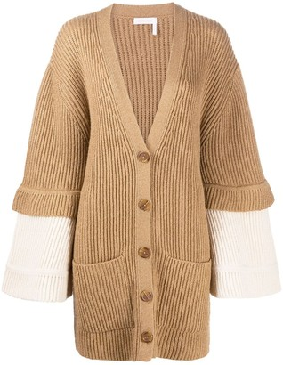 See by Chloe Long Sleeve Ribbed Knit Cardigan