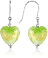 Glass Heart House of Murano Mare - Lime Murano Drop Earrings