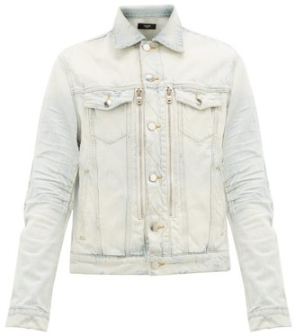Amiri Mx2 Distressed Denim Jacket - Mens - Light Blue