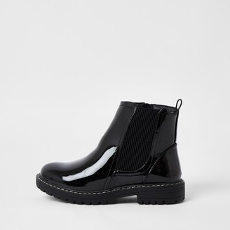 River Island Girls Black patent clumpy chelsea ankle boots