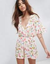 Oh My Love Batwing Floral Romper