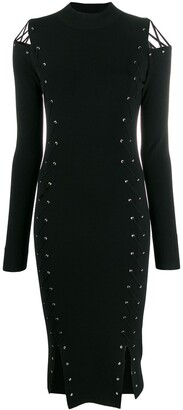 McQ Swallow Knitted Eyelet Fitted Dress