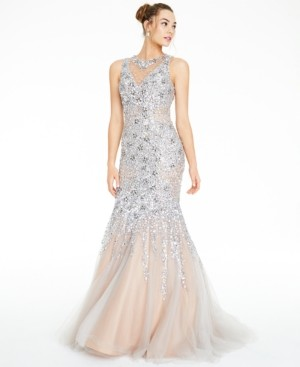 Glamour By Terani Juniors' Embellished Cutout-Back Gown