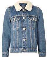 River Island Boys mid blue borg collar denim jacket