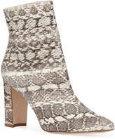 Manolo Blahnik Rosie Block-Heel Snakeskin Booties