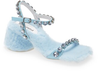 Jeffrey Campbell Lover Embellished Faux Fur Sandal