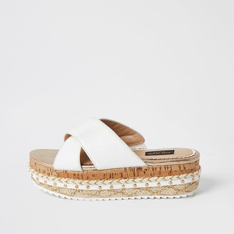 River Island White crossover wide fit flatform sandals