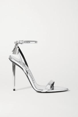 Tom Ford Padlock Embellished Metallic Eel Sandals - Silver