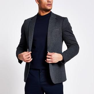 River Island Mens Navy textured skinny fit blazer
