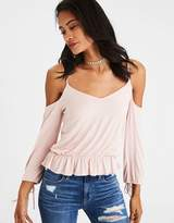 American Eagle Outfitters AE Soft & Sexy Cold Shoulder Tie-Sleeve T-Shirt