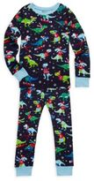 Hatley Little Boy's & Boy's Two-Piece Winter Sports T-Rex Cotton Pajama Set