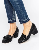 Office Monty Buckle Fringe Mid Heeled Loafers