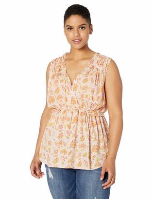 Lucky Brand Women's Plus Size Sleeveless Romantic Ruffle TOP