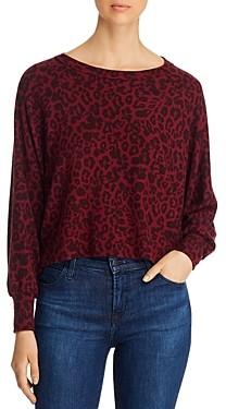 Red Haute Leopard Print Cropped Sweatshirt