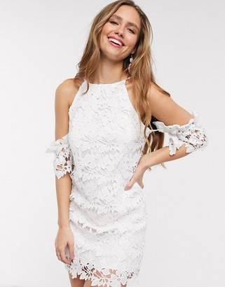 En Creme lace bodycon dress in white