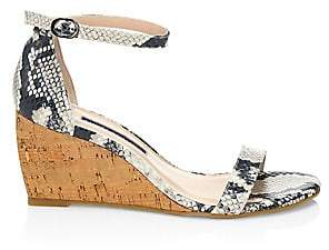 Stuart Weitzman Women's Nearlynude Snakeskin-Embossed Leather & Cork Wedges