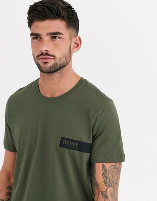 BOSS bodywear logo t-shirt in khaki-Green