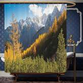 Wanranhome Custom-made shower curtain National Parks Decor Panorama of Mountain Rage Valley Ice Peaks Hills Beech Trees Balkans Multi For Bathroom Decoration