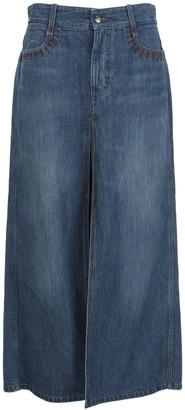 Chloé Front Slit Denim Maxi Skirt