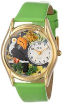 Whimsical Watches Kids' C0150006 Classic Gold Toucan Light Green Leather And Goldtone Watch