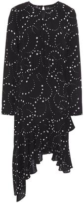 Maje Asymmetric Printed Crepe Dress