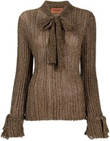Missoni bow-detail ribbed knit jumper