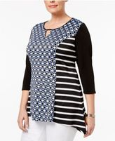 NY Collection Plus Size Mixed-Print Keyhole Top