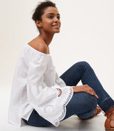 LOFT Petite Embroidered Bell Sleeve Off The Shoulder Blouse