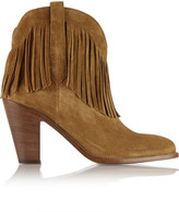 Saint Laurent New Western Fringed Suede Ankle Boots - Tan