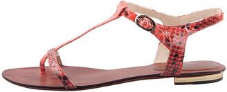 Alexandre Birman Red Python Leather T Strap Flat Sandals Size 38.5
