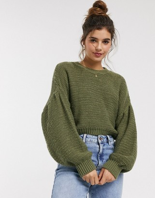 Asos DESIGN fluffy crew neck sweater with volume sleeve
