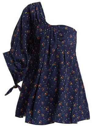Teija Floral-print One-shoulder Top - Womens - Navy Print