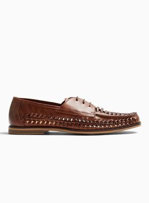 Topman Tan Weave Morgan Lace Loafers