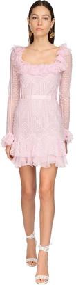ZUHAIR MURAD Ruffled Lace Mini Dress