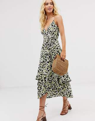 And other stories & wrap dress in yellow floral print-Multi