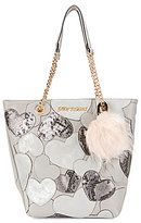 Betsey Johnson Sweet Hearts Metallic North/South Tote with Faux-Fur Pom