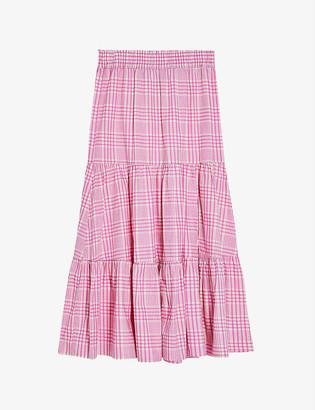 Topshop Checked woven midi skirt