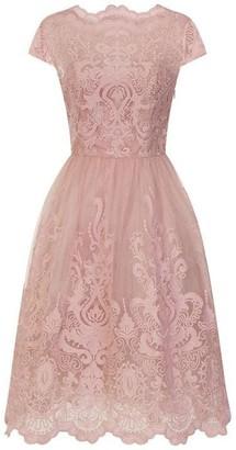 Chi Chi Metallic Lace Tea Dress
