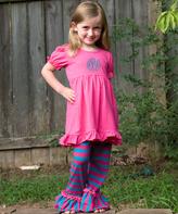 Princess Linens Hot Pink & Blue Monogram Dress & Pants - Infant Toddler & Girls