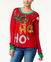 Hooked Up by Iot Juniors' Ho Ho Ho Tinsel Holiday Sweater