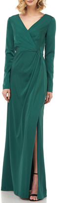 Kay Unger New York Adelina V-Neck Long-Sleeve Stretch Faille Gown w/ Side Slit