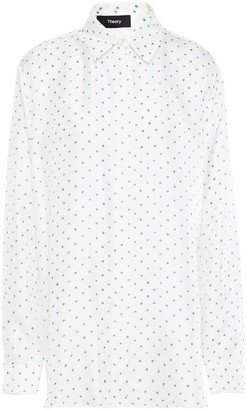 Theory Polka-dot Silk-twill Shirt