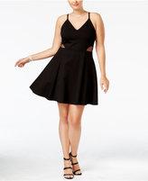 Soprano Trendy Plus Size Illusion Fit & Flare Dress