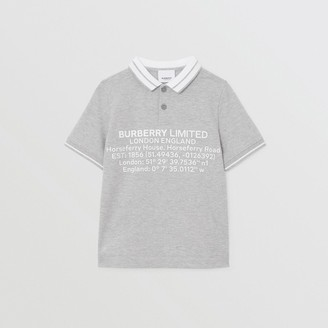 Burberry Location Print Cotton Pique Polo Shirt