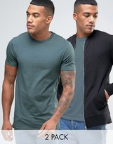 Asos Jersey Muscle Fit Bomber Jacket/Longline T-Shirt 2 Pack