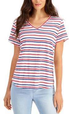 Style&Co. Style & Co Petite Striped V-Neck Cotton T-Shirt, Created for Macy's