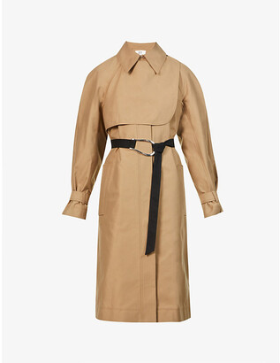 VVB Contrast panel buckle-belt cotton and recycled-polyester-blend trench coat