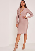 Missguided Purple Plus Size Lace Up Bandage Midi Dress