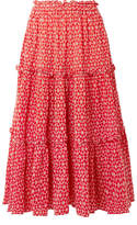 Lisa Marie Fernandez Ruffled Broderie Anglaise Cotton-voile Midi Skirt - Tomato red