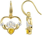 JCPenney FINE JEWELRY Heart-Shaped Genuine Citrine and Diamond-Accent Claddagh Earrings